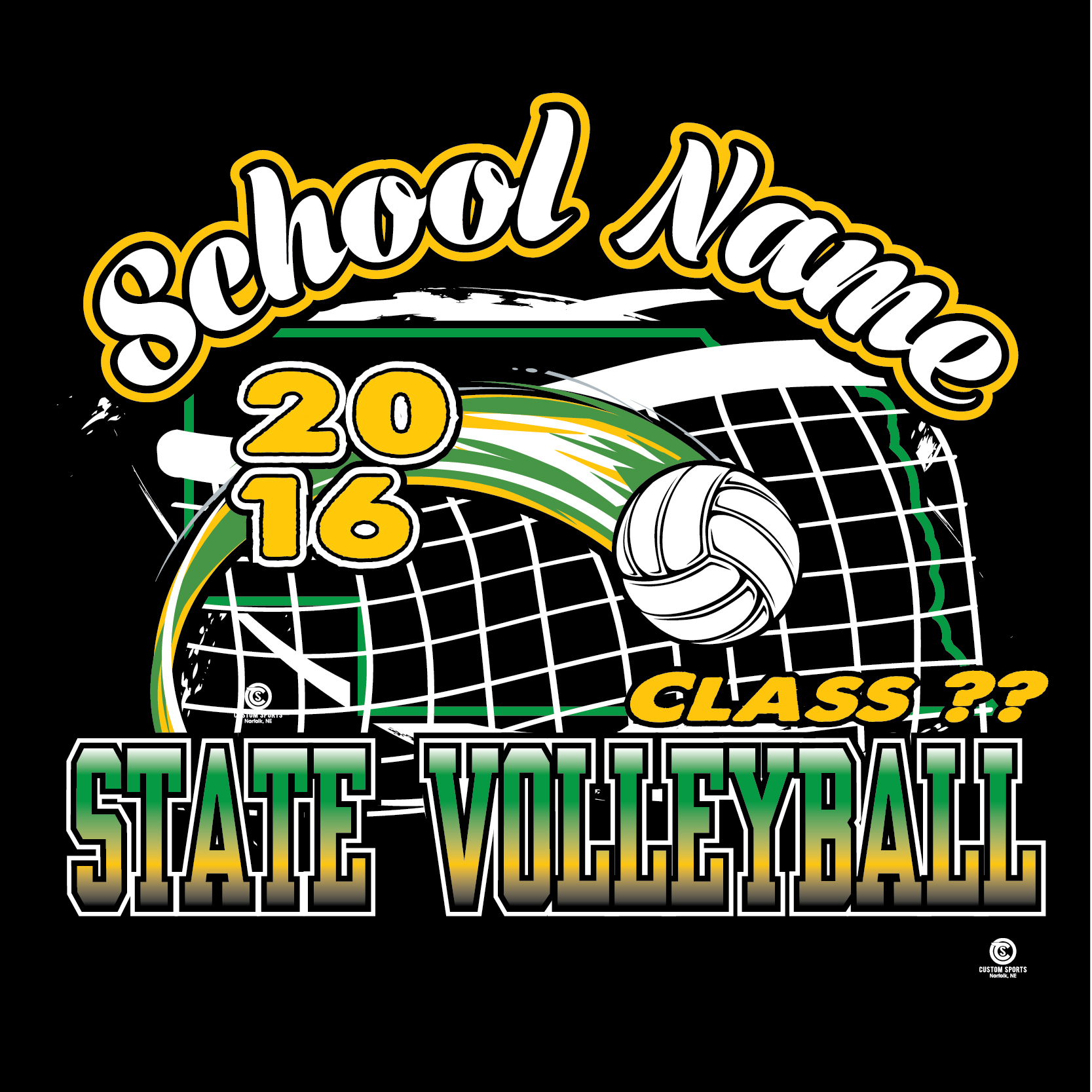 T shirt design volleyball - State Volleyball Web 09